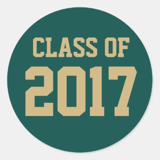 Editable Green Gold Class of 2018 Graduation Classic Round Sticker