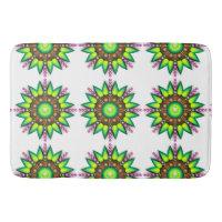 Editable Neon Green Spiral Star Tiled Designed Rug