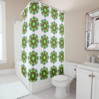 Editable Neon Green Spiral Star Tiled Designed Shower Curtain