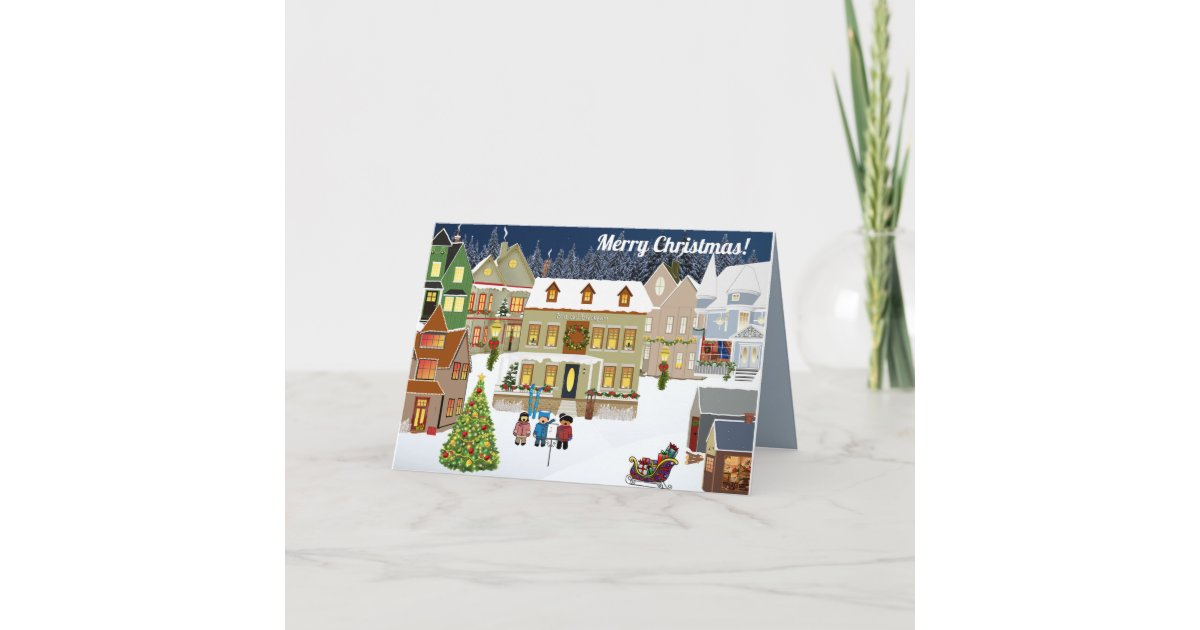 Editable Old Fashioned Town Scene Christmas Card Zazzle Com