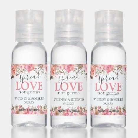 Editable Pink Floral Wedding Hand Sanitizer