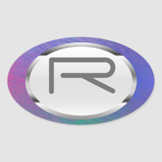 "Editable R ""Blue Rain"" Silver Oval Stickers"