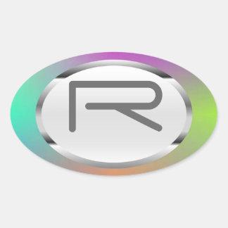 "Editable R ""Colorful Metallic"" Silver Oval Sticker"