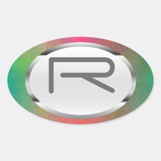 "Editable R ""Pink Sunrise"" Silver Oval Sticker"