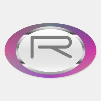 "Editable R ""Purple Metallic"" Silver Oval Stickers"