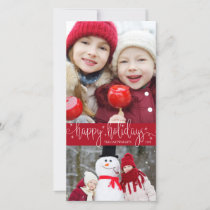 Editable Red | Script HAPPY HOLIDAYS | 2 Photos Holiday Card