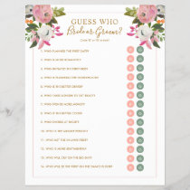 Editable Shower Game Pink Floral Bride Groom Y/N