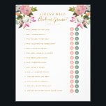 """Editable Shower Game Pink Floral Bride Groom Y/N Flyer<br><div class=""""desc"""">Romantic pink and white painted florals bridal shower game with gold text. with editable circles for &quot;bride or groom&quot; or &quot;yes or no&quot; style questions Change the title and questions to anything you need. The gorgeous painted florals are by Create the Cut. Find them on Creative Market https://crmrkt.com/7WdAX, Etsy https://www.etsy.com/shop/CreateTheCut,...</div>"""