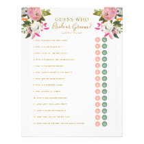 Editable Shower Game Pink Floral Bride Groom Y/N Flyer