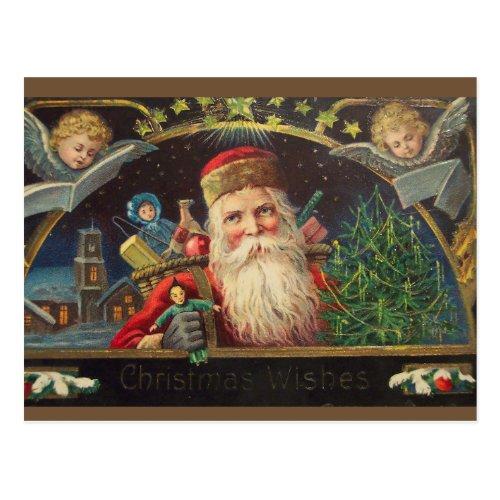 Editable Vintage Old Classic Santa Holiday Postcard