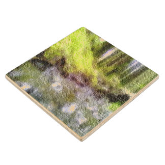 Edited forest photo wood coaster