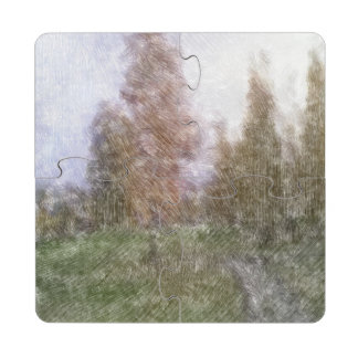 Edited forest photo puzzle coaster