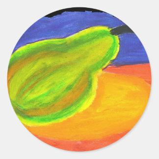 edited pear (2) classic round sticker