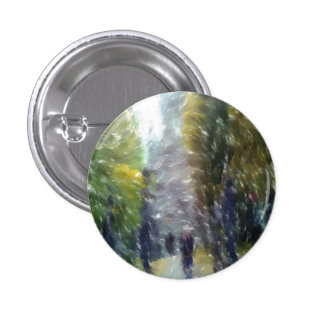 Edited photo building and trees 1 inch round button
