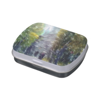Edited photo building and trees jelly belly candy tins