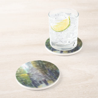 Edited photo building and trees beverage coasters