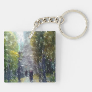 Edited photo building and trees Double-Sided square acrylic keychain