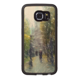 Edited photo building and trees wood phone case