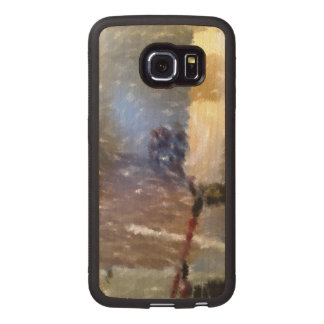 edited photo of a room wood phone case