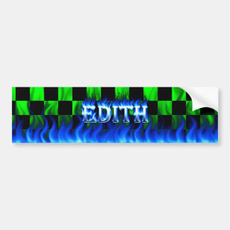 Edith blue fire and flames bumper sticker design car bumper sticker