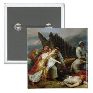 Edith que encuentra al cuerpo de Harold, 1828 Pin Cuadrado