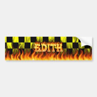Edith real fire and flames bumper sticker design. car bumper sticker