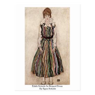 Edith Schiele In Striped Dress By Egon Schiele Postcard