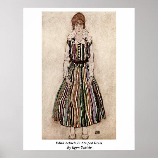 Edith Schiele In Striped Dress By Egon Schiele Poster