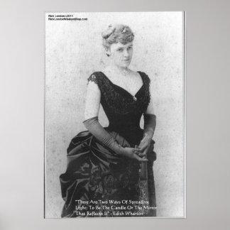 "Edith Wharton ""Spreading Light"" Quote Posters"