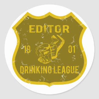 Editor Drinking League Classic Round Sticker