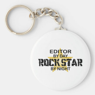 Editor Rock Star by Night Basic Round Button Keychain