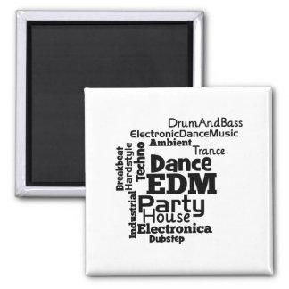 EDM Dance Party Word Cloud 2 Inch Square Magnet