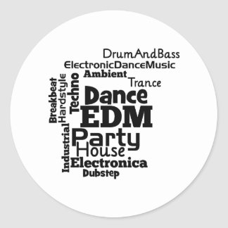 EDM Dance Party Word Cloud Classic Round Sticker