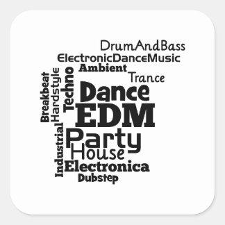 EDM Dance Party Word Cloud Square Sticker