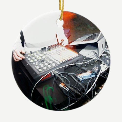 EDM DJ mixing music at an underground show Ceramic Ornament
