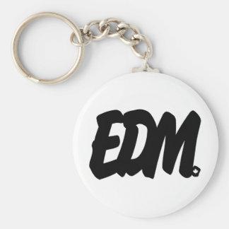 EDM Letters Basic Round Button Keychain