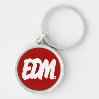 EDM Letters Silver-Colored Round Keychain