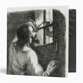 Edmond Dantes imprisoned in the Chateau d'If 3 Ring Binder