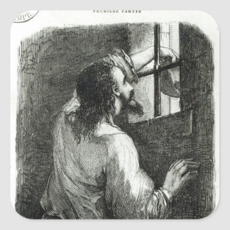 Edmond Dantes imprisoned in the Chateau d'If Square Sticker