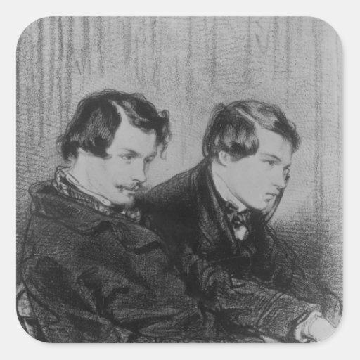 Edmond de Goncourt y Julio de Goncourt Pegatina Cuadrada