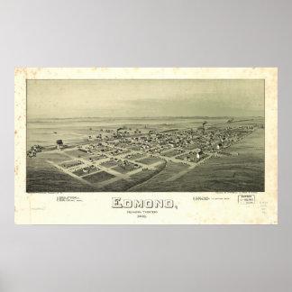 Edmond Oklahoma 1891 Antique Panoramic Map Poster