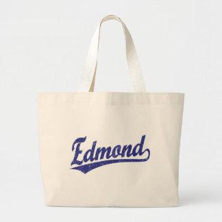 Edmond script logo in blue jumbo tote bag