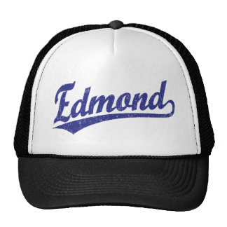 Edmond script logo in blue trucker hat