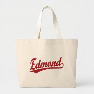Edmond script logo in red jumbo tote bag