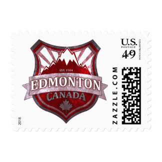 Edmonton Canada red grunge shield postage stamps