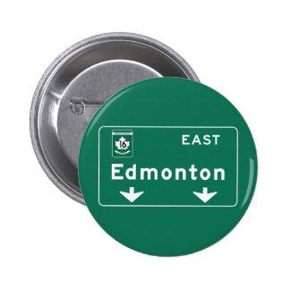 Edmonton, Canada Road Sign Pinback Button