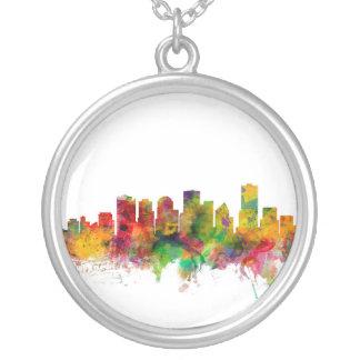 Edmonton Canada Skyline Round Pendant Necklace