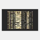 Edmonton City of Canada Typography Art Rectangle Stickers