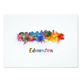 Edmonton skyline in watercolor card
