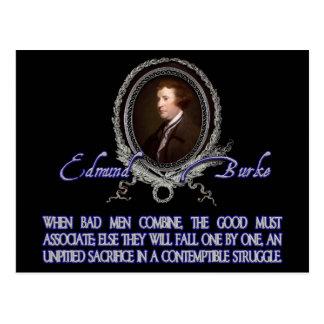 Edmund Burke Quote:  When Bad Men Combine Postcard
